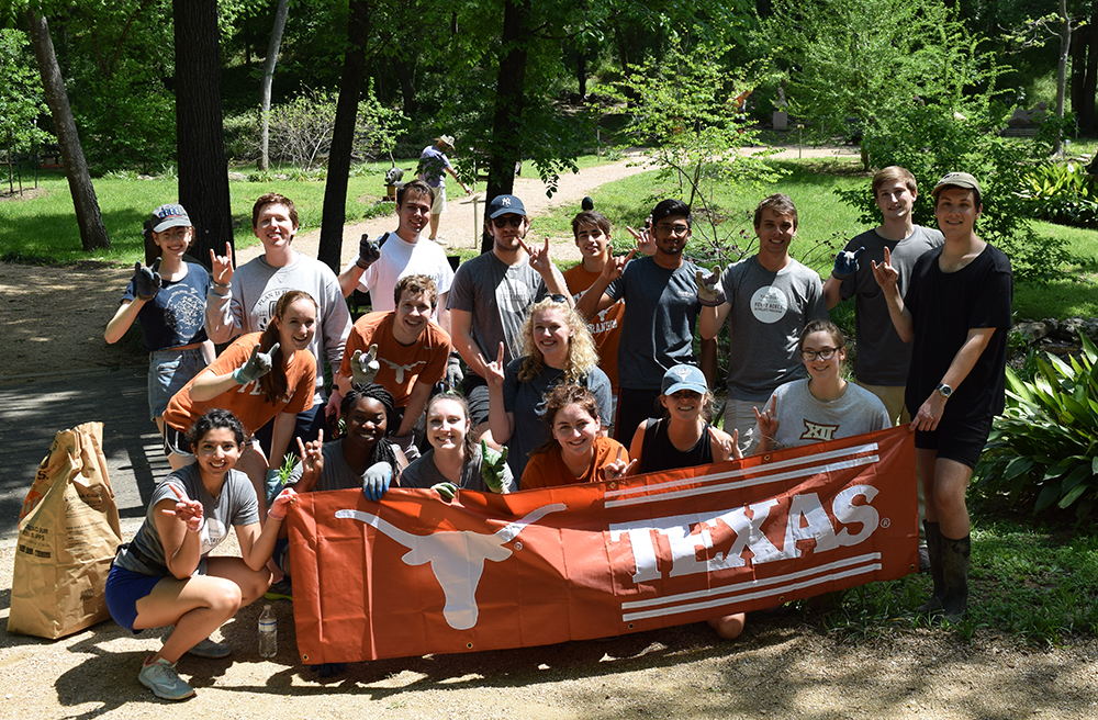 "<b>Univ. of Texas:</b><br><br>   <div style='font-size:18px;'>""commUNITY means supporting local nature and art venues that help bring together the city that we love.""  <br><br>  UT-Austin Stamps Scholars volunteered at the Umlauf Sculpture Garden for their Day of Service. The scholars cleared poison ivy, dug out invasive plants from the creek bed, weeded, and maintained the pathway for visitors. </div>"