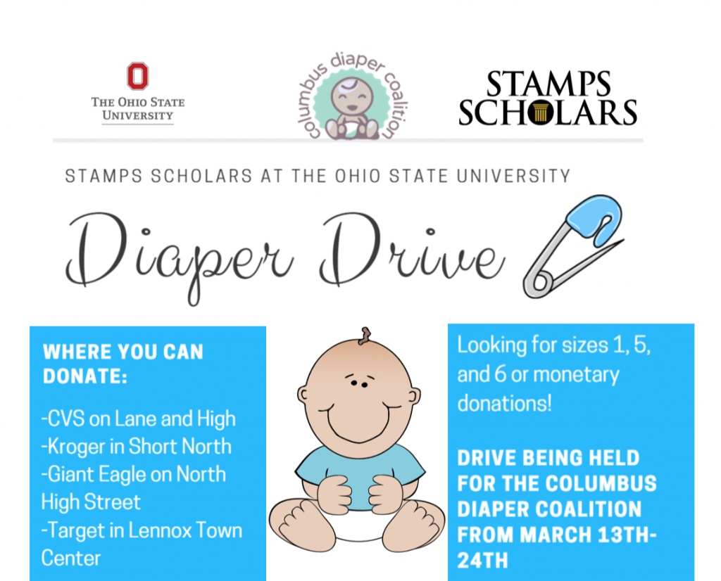 "<b>Ohio State:</b><br>   <div style='font-size:18px;'>""commUNITY means working together as a group to study the needs of Columbus in order to contribute and serve our community in a meaningful and sustainable way.""  <br><br>  For their day of service, OSU Stamps Scholars held a diaper drive to collect donations in support of the Columbus Diaper Coalition. We collected about 640 diapers in donations, which will go to families in need across Central Ohio. Having access to clean diapers shouldn't be a function of wealth: it is a necessity for a child to stay healthy and happy. </div>"