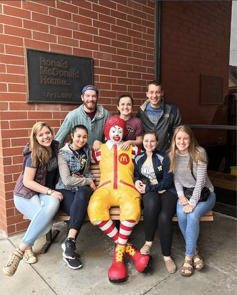 "<b>Univ. of Pittsburgh:</b><br><br>   <div style='font-size:18px;'>""CommUNITY means not only being close to one another in an organization, but using your combined skills and talents to make a difference for those around you.""  <br><br>  This year, Stamps Scholars at the Univ. of Pittsburgh cooked a meal for those staying at the Ronald McDonald House in Pittsburgh! During the second half of the day, Scholars helped develop a mentorship program for adolescents in the Pittsburgh area. </div>"