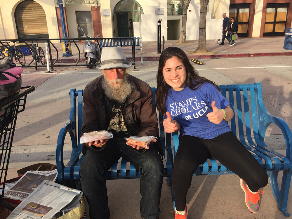 "<b>UCLA:</b><br><br>   <div style='font-size:18px;'>""A commUNITY is not just those who you are comfortable with and who are similar to you. Community includes the less fortunate members who you may not interact with on a daily basis.""<br><br>  The Stamps Scholars at UCLA made ham and cheese and peanut butter and jelly sandwiches, and distributed them to the homeless in and around the Westwood area."
